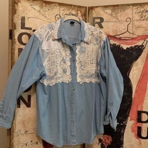 Denim Shirt/Jacket Custom Decorated Sz XL